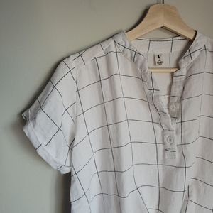 White window pane blouse